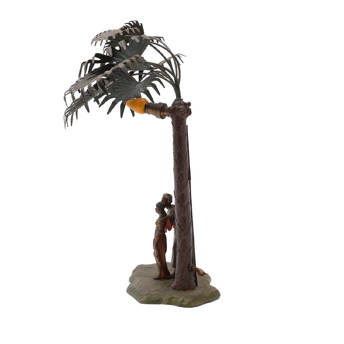 Austrian Cold-Painted Metal Figural Lamp in Form of - 5