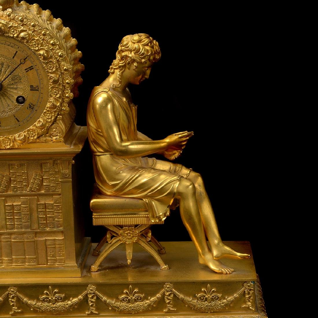 French Gilt Bronze Mantel Clock - 4