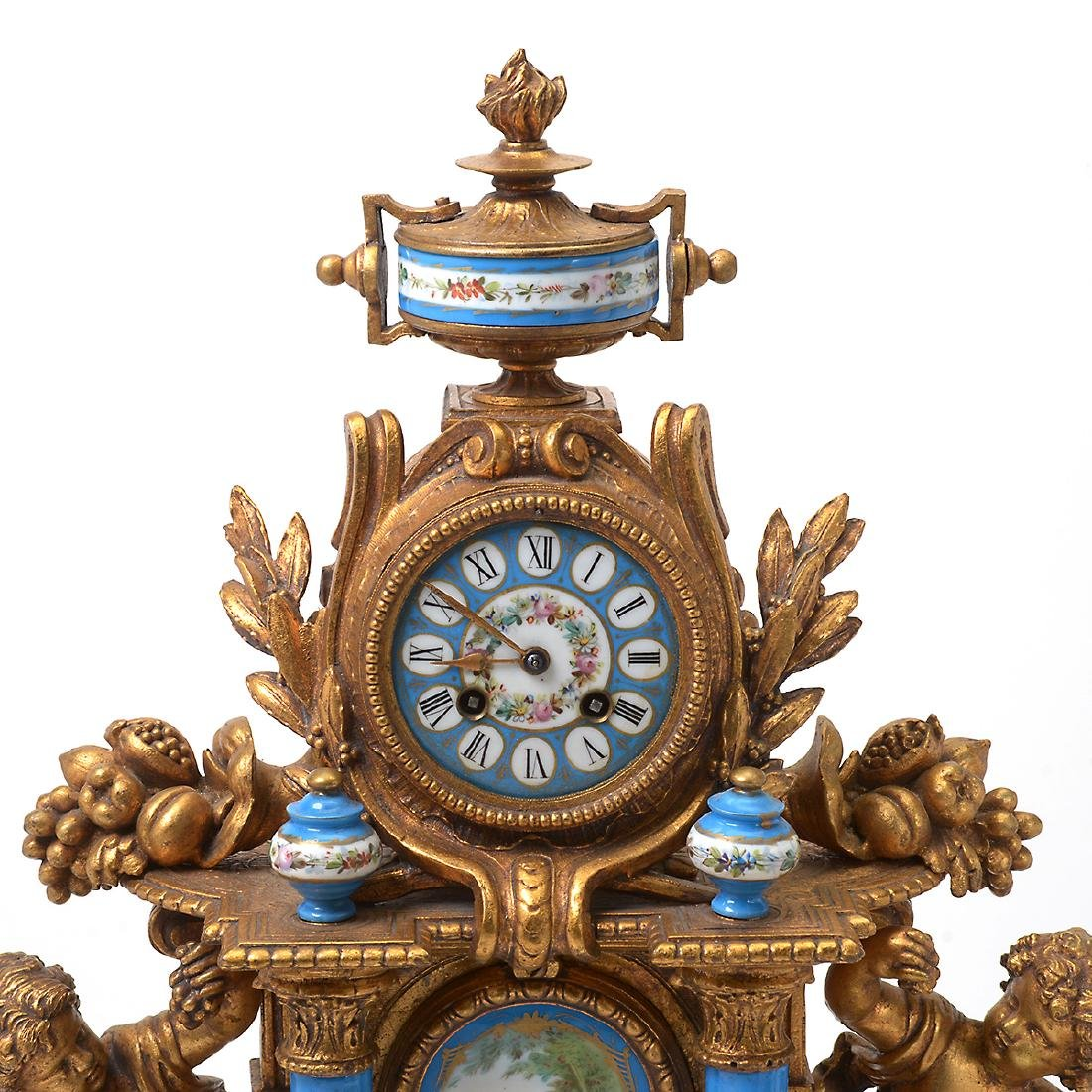 Rococo Style Gilt Metal and Ceramic Clock and Garniture - 2