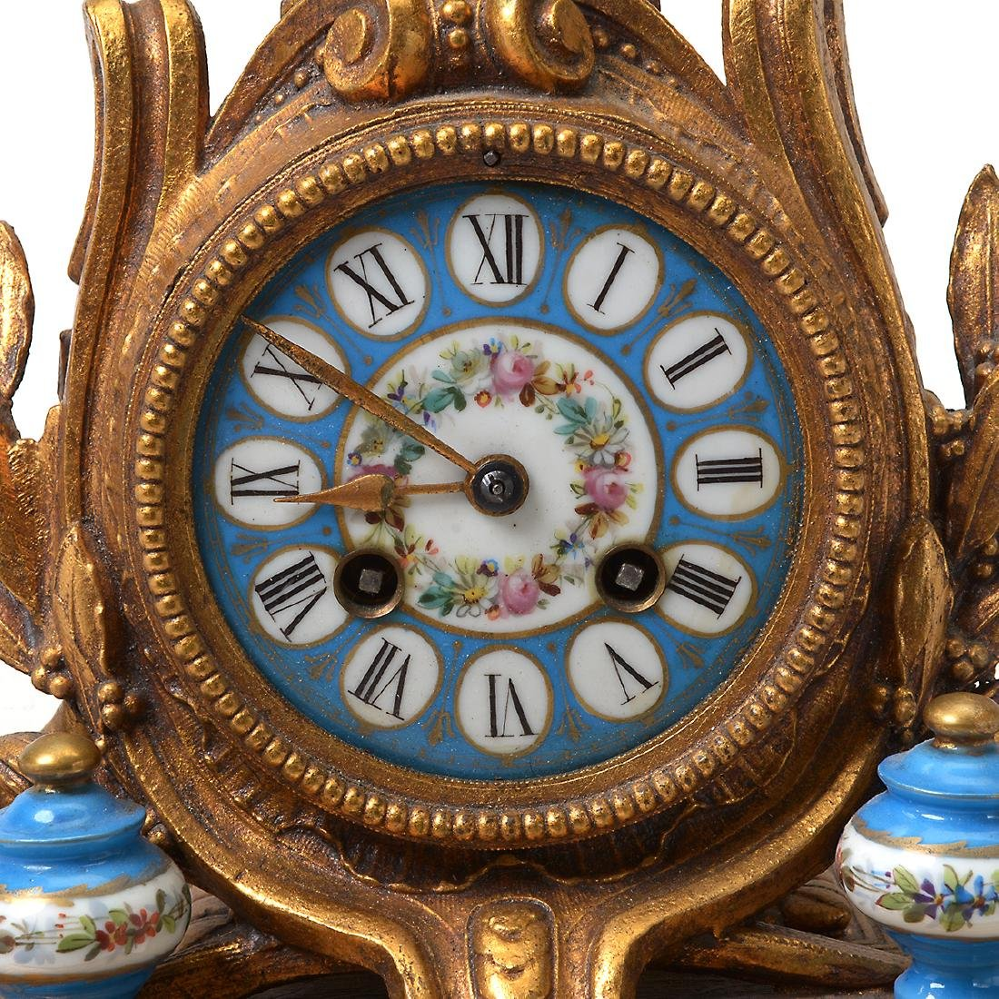 Rococo Style Gilt Metal and Ceramic Clock and Garniture - 7