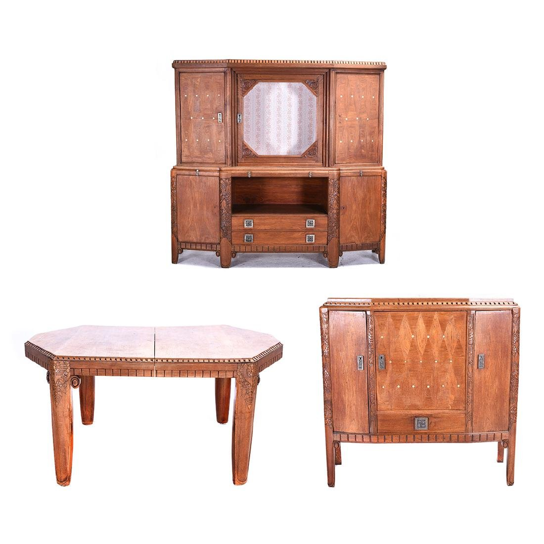 French Art Deco Shell Inlaid Walnut Dining Suite