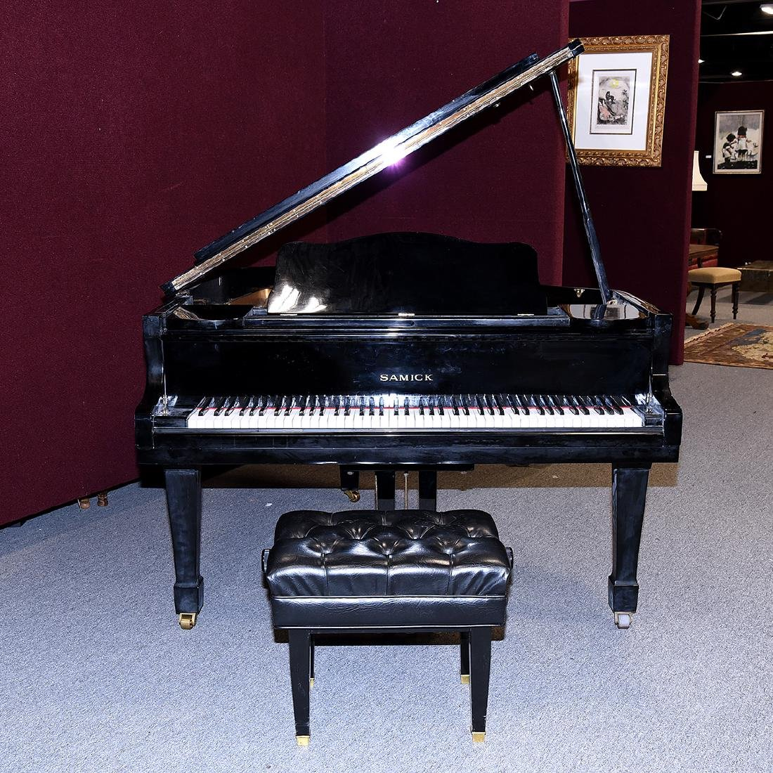 Samick Ebonized Grand Piano and Bench - 2