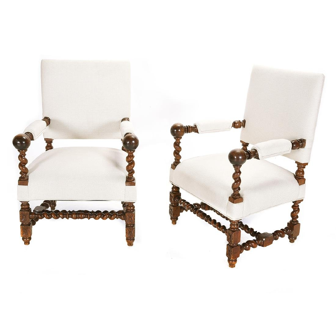 Pair of Louis XIV Style Walnut Upholstered Armchairs