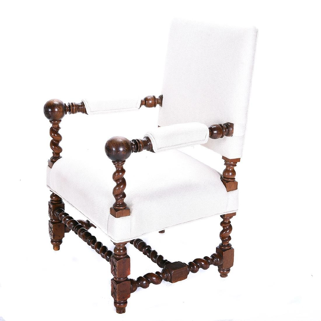 Pair of Louis XIV Style Walnut Upholstered Armchairs - 3