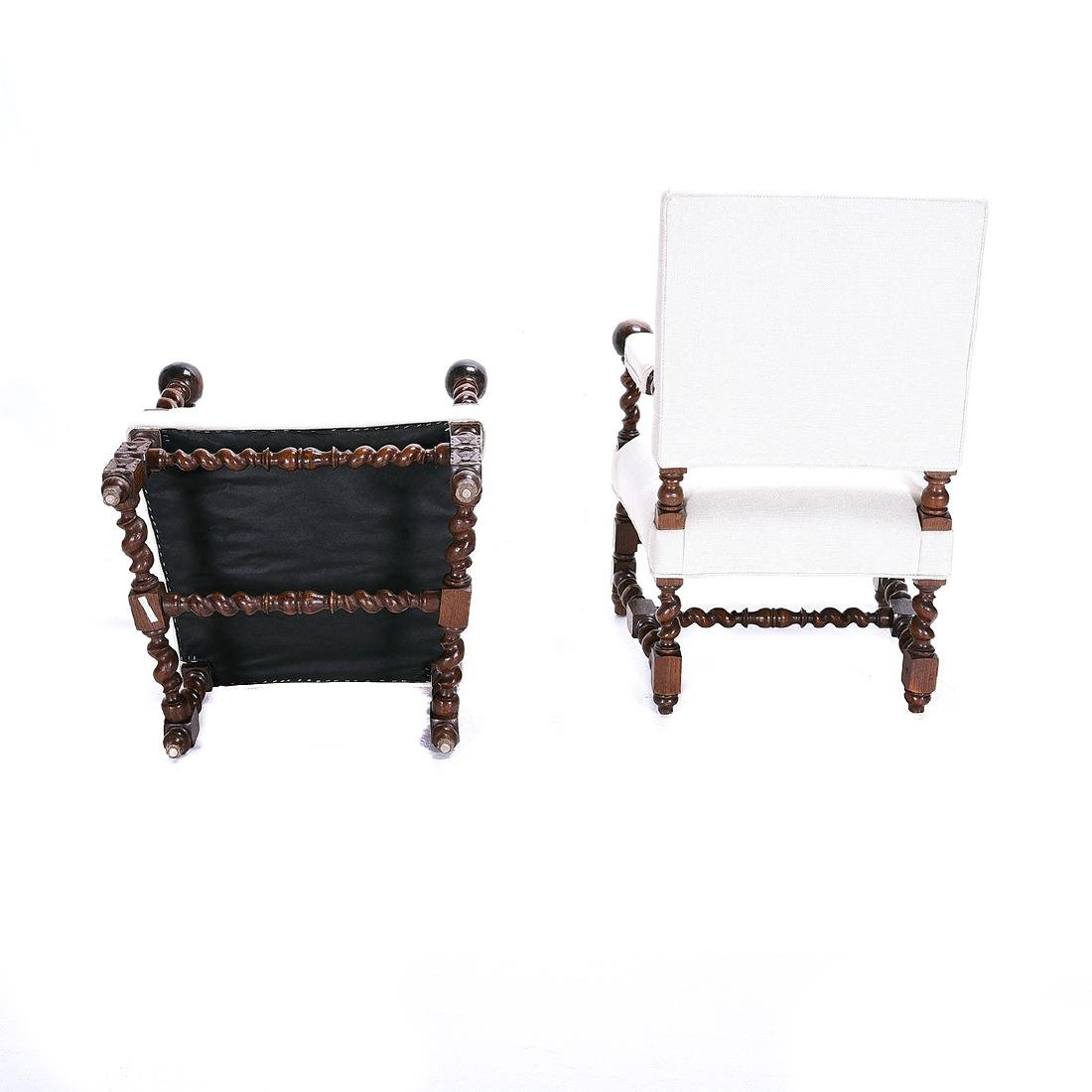 Pair of Louis XIV Style Walnut Upholstered Armchairs - 4