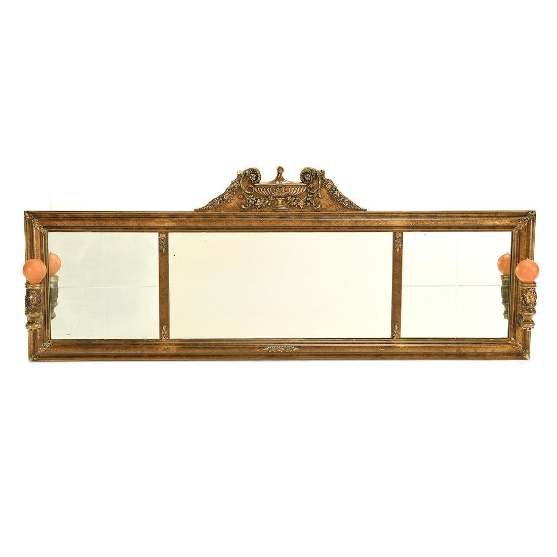 Classic Over Mantel Mirror, Attached Sconces