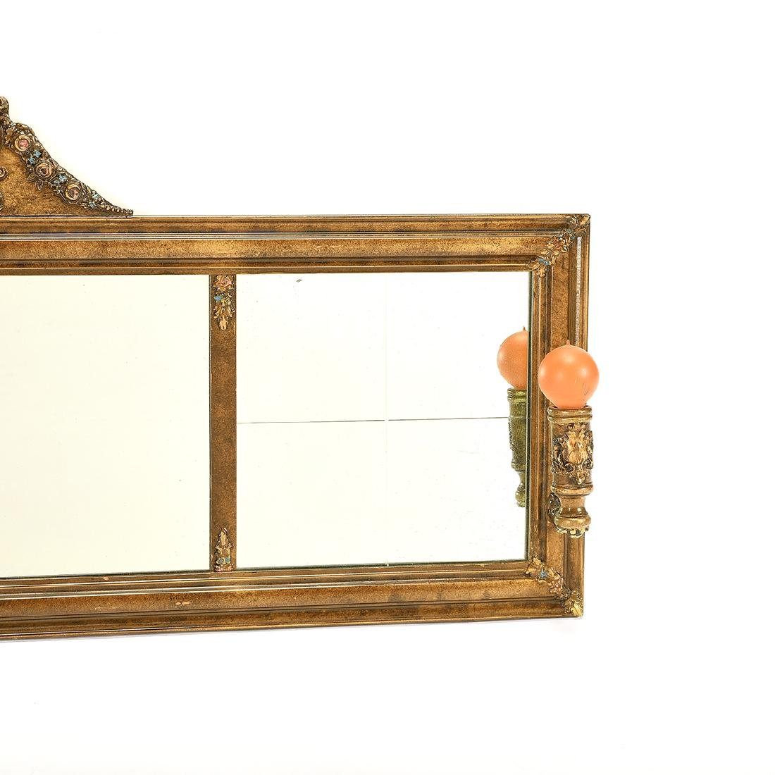 Classic Over Mantel Mirror, Attached Sconces - 3