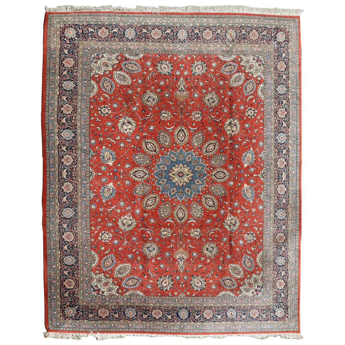 Indo-Kashan Scarlet and Blue Ground Carpet