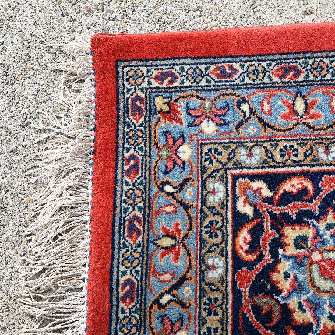 Indo-Kashan Scarlet and Blue Ground Carpet - 2