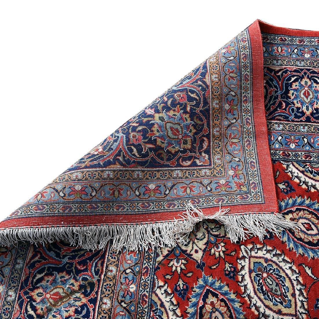 Indo-Kashan Scarlet and Blue Ground Carpet - 3