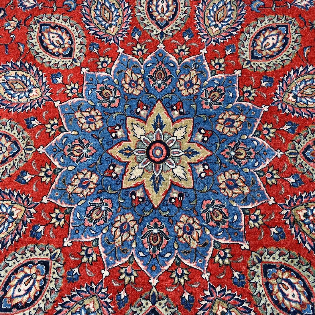 Indo-Kashan Scarlet and Blue Ground Carpet - 4