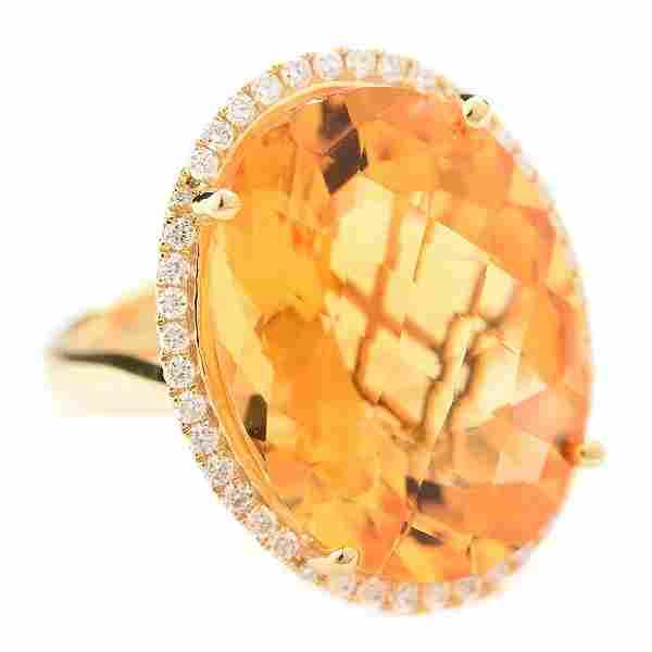 Citrine, Diamond, 14k Yellow Gold Ring.