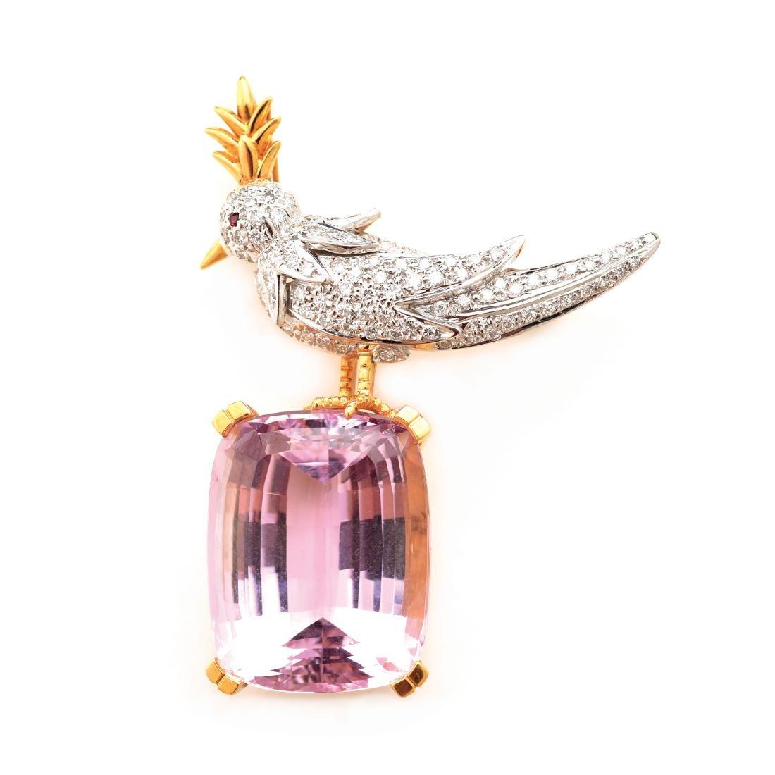 """Tiffany Schlumberger """"Bird on Rock"""" Kunzite, Diamond"""