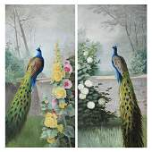 "American School Pair of ""Peacocks"" oil on canvas"