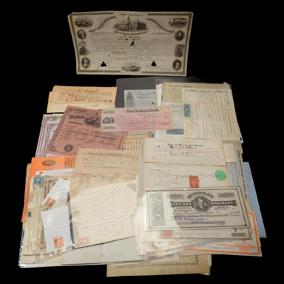U.S Revenue Papers & Checks, 19th Century (100)