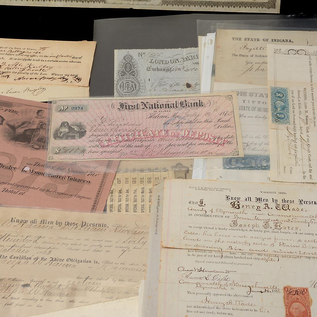 U.S Revenue Papers & Checks, 19th Century (100) - 4