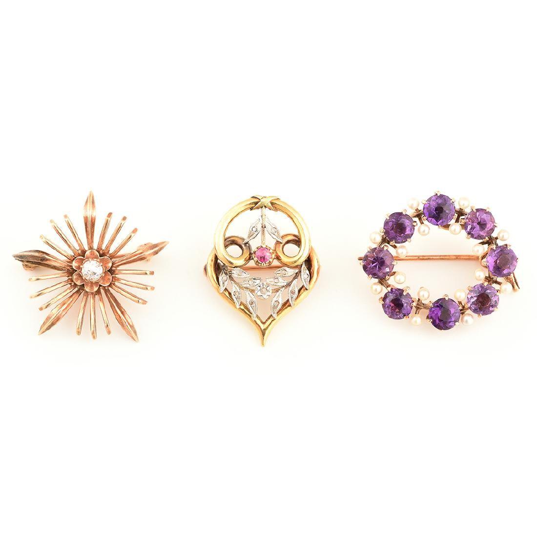 Collection of Three Multi-Stone, Diamond, Seed Pearl,
