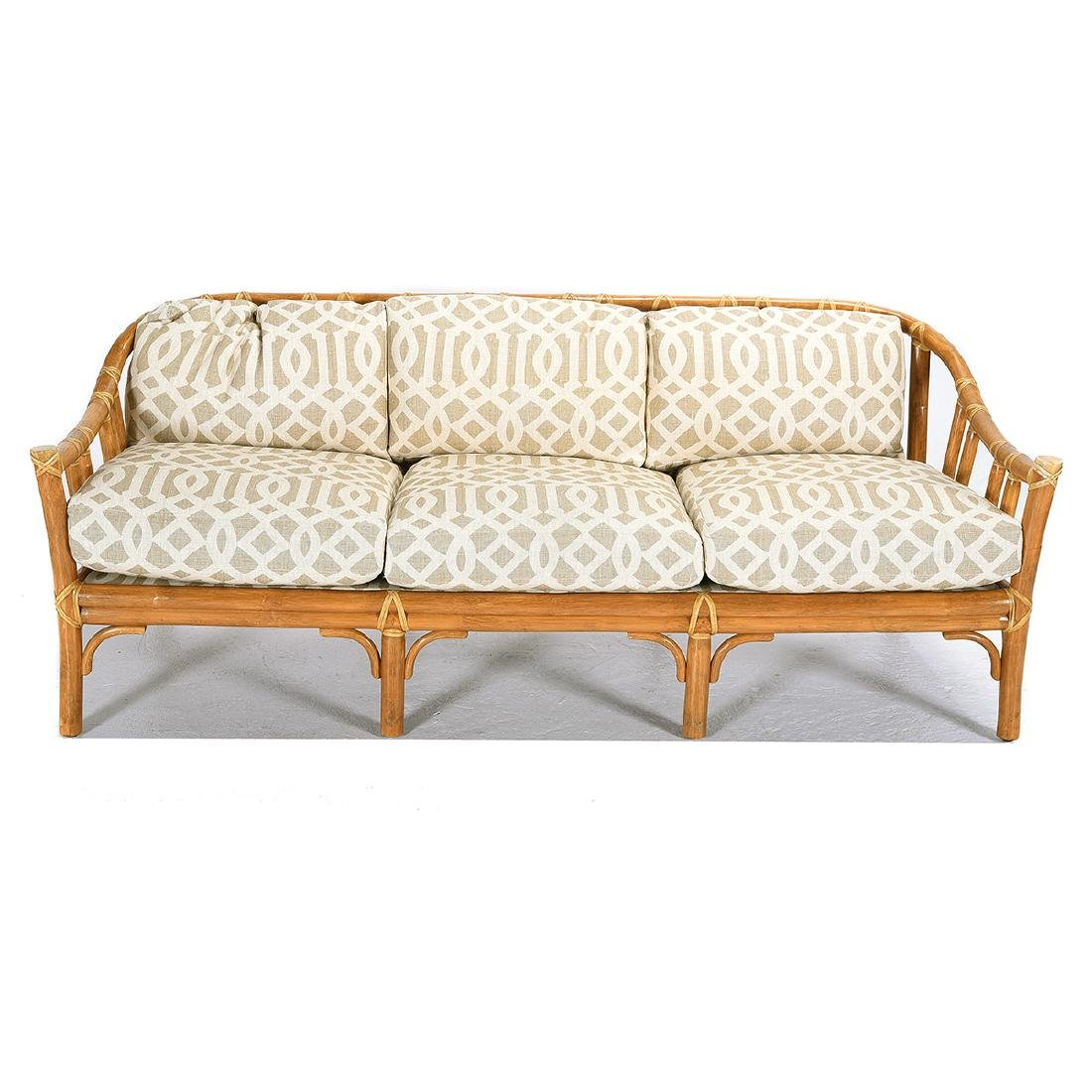 Silvered Contemporary Wood Settee Caned Seat