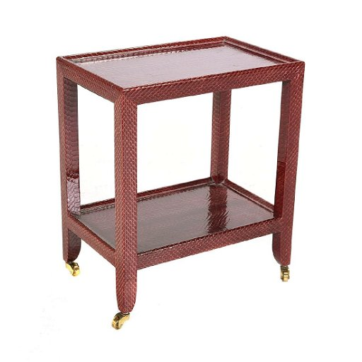 Wondrous Frssberg Red Faux Snake Skin Small Rolling Table Home Interior And Landscaping Oversignezvosmurscom