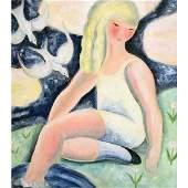 "Nura Ulreich ""Girl with Birds"" oil on board"