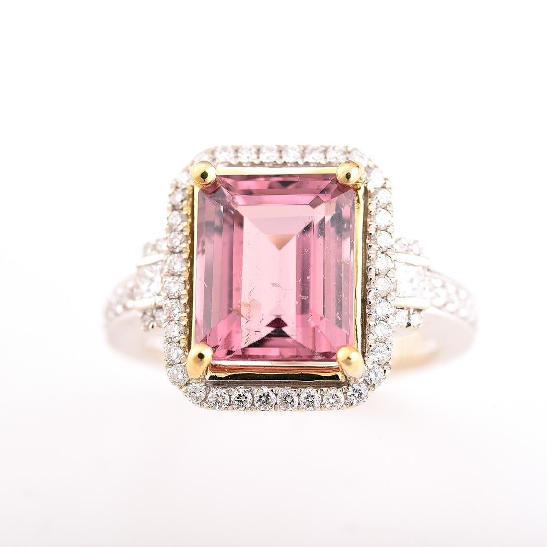 Tourmaline, Diamond, 14k Gold Ring. - 2