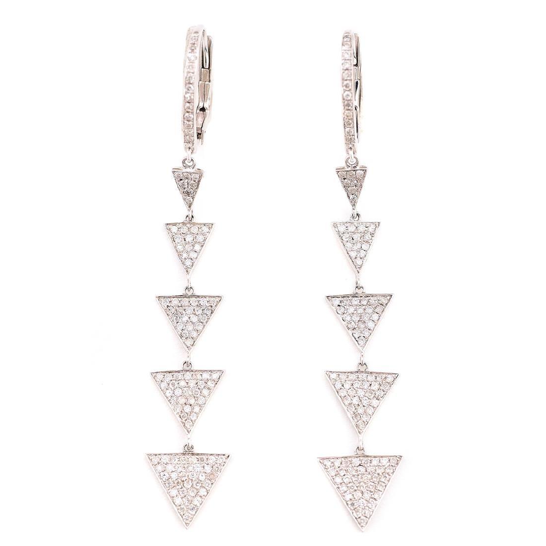 Pair of Diamond, 14k White Gold Earrings.