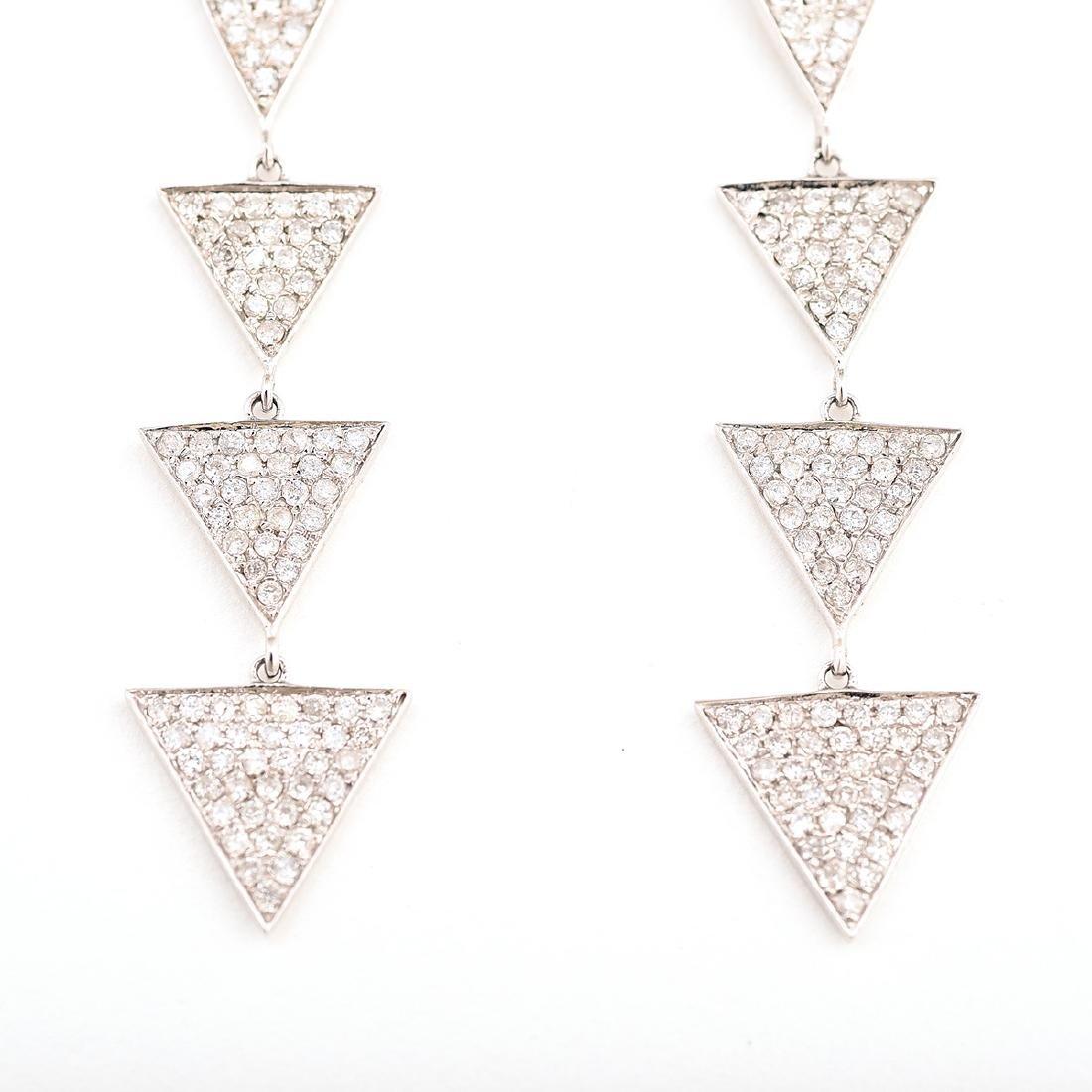 Pair of Diamond, 14k White Gold Earrings. - 2