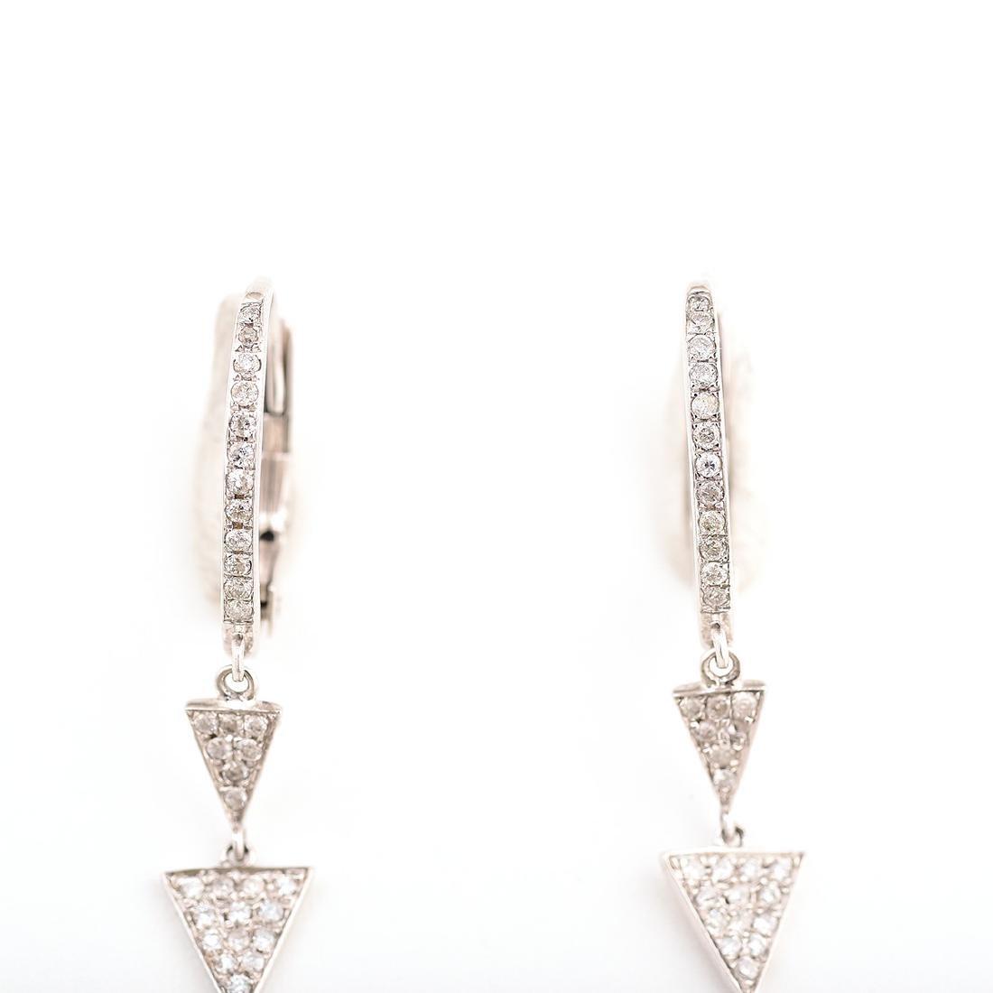 Pair of Diamond, 14k White Gold Earrings. - 3