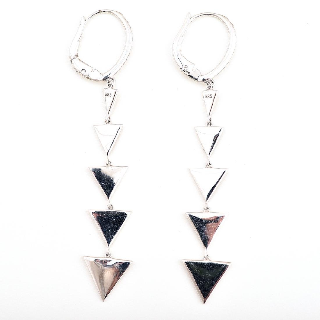 Pair of Diamond, 14k White Gold Earrings. - 4