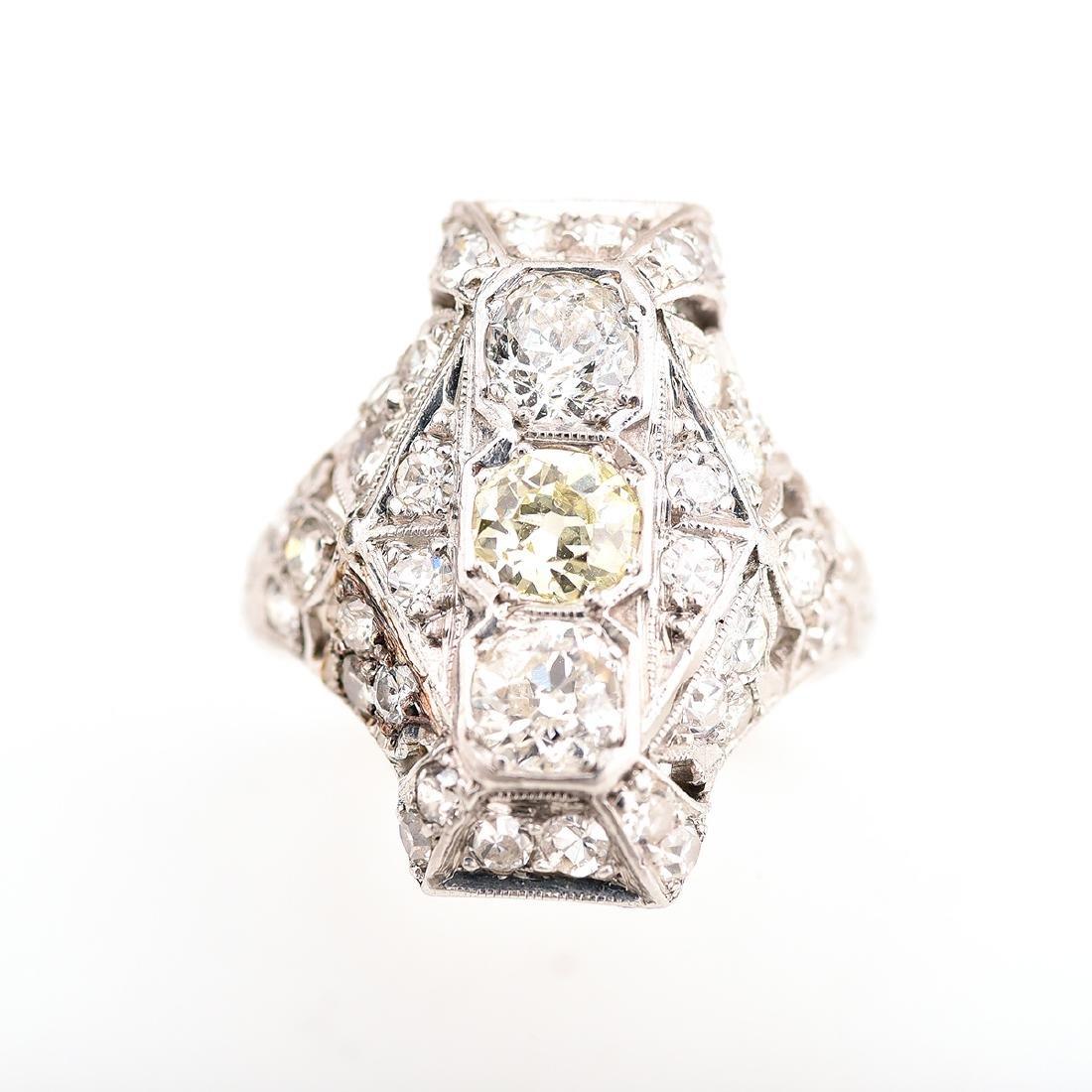 Diamond, Platinum Ring. - 2