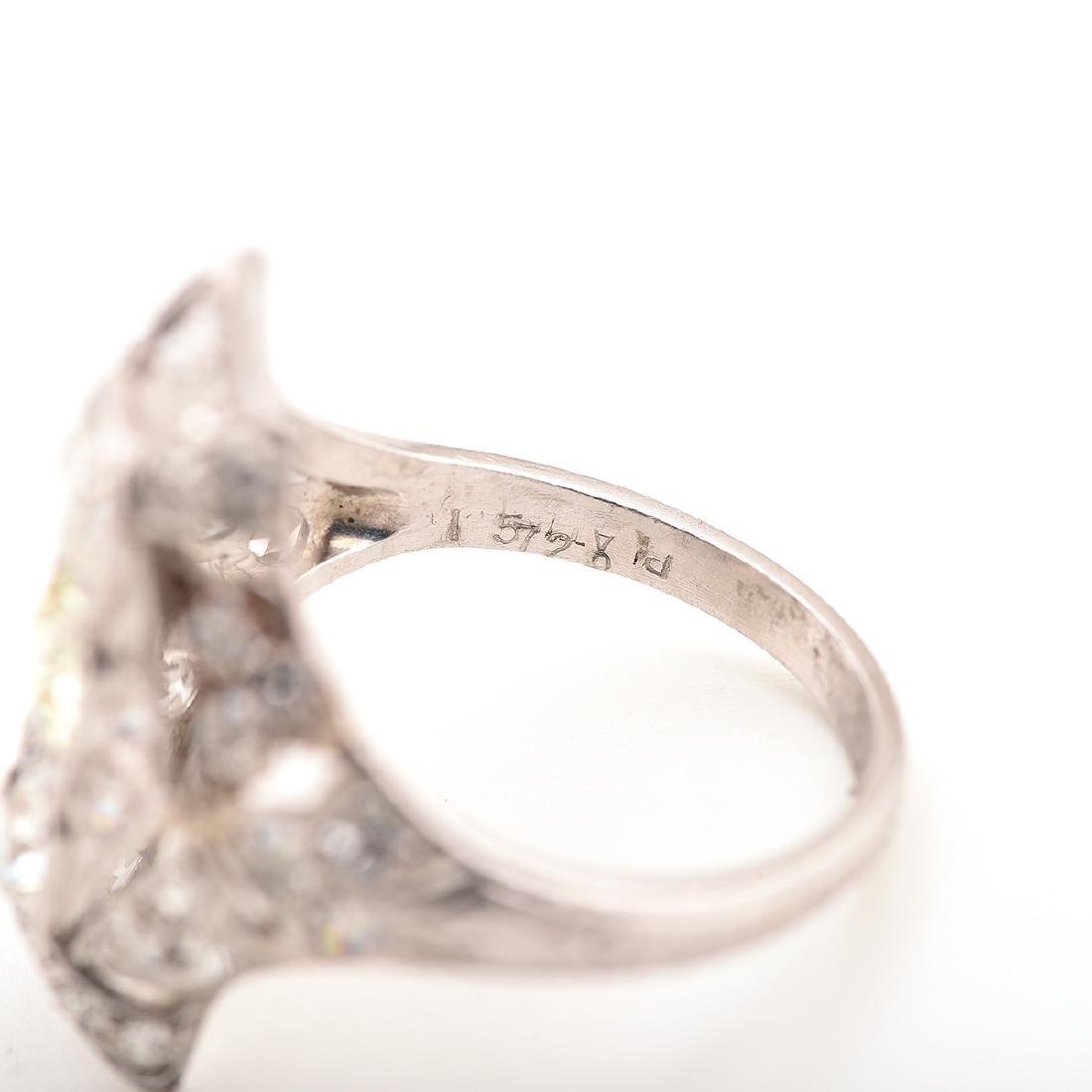 Diamond, Platinum Ring. - 4