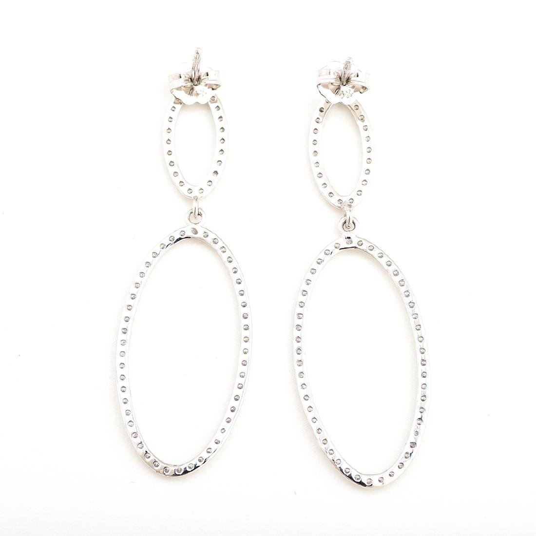 Pair of Diamond, 14k White Gold Earrings. - 4