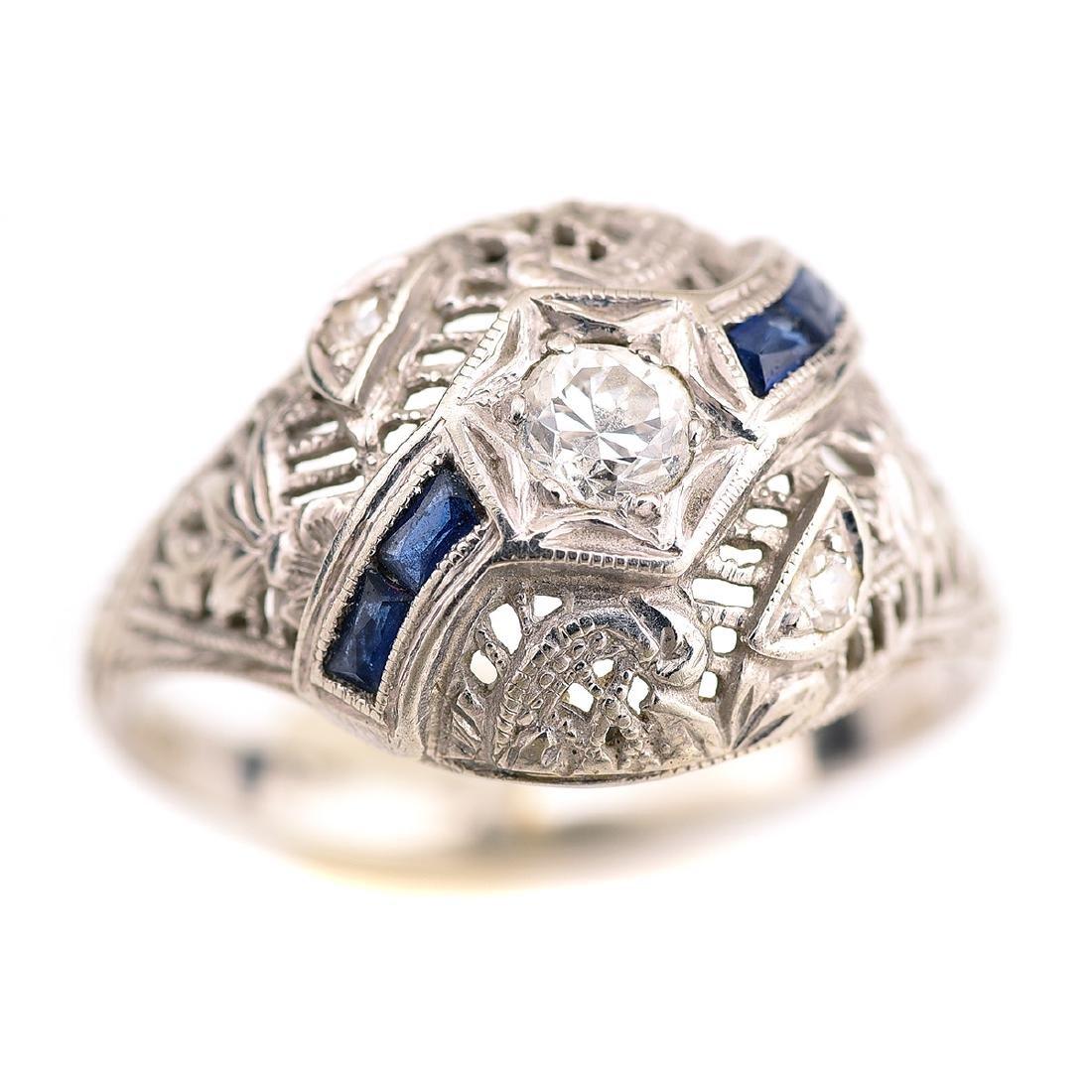 Vintage Diamond, Sapphire, 18k White Gold Ring.