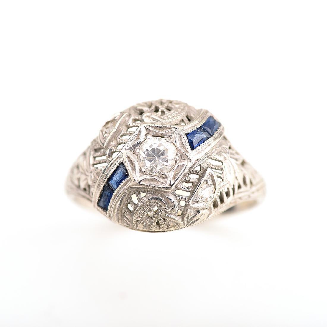 Vintage Diamond, Sapphire, 18k White Gold Ring. - 2