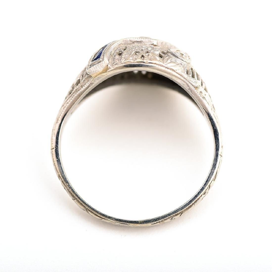Vintage Diamond, Sapphire, 18k White Gold Ring. - 3