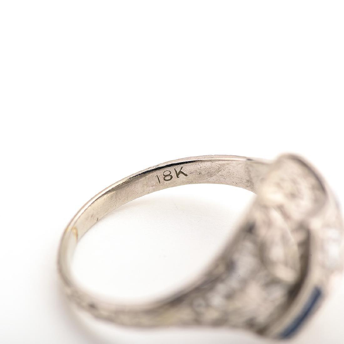 Vintage Diamond, Sapphire, 18k White Gold Ring. - 4