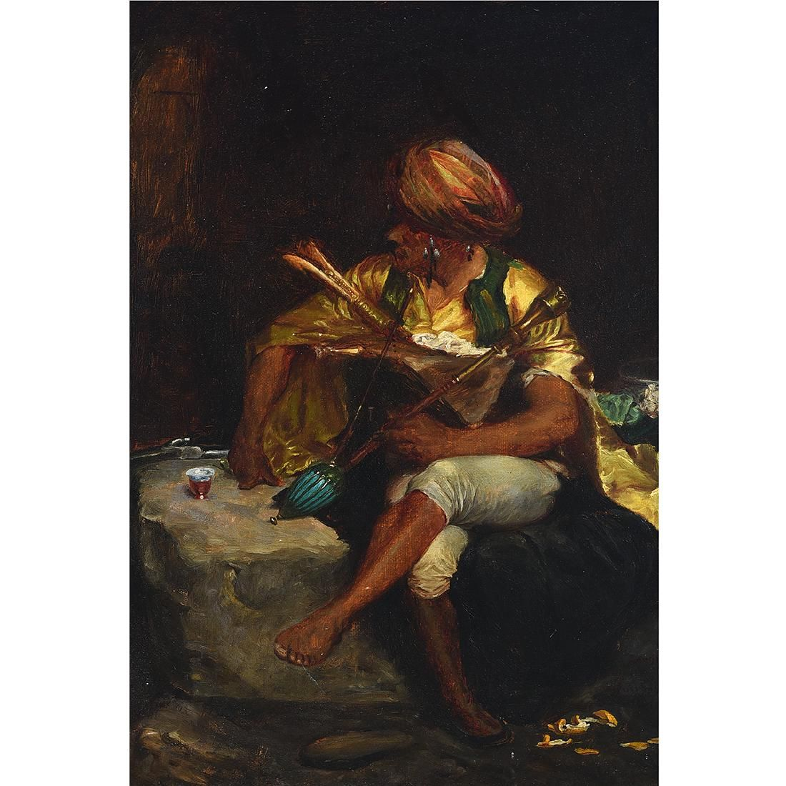 "Continental School ""Arab Musician"" oil on canvas"