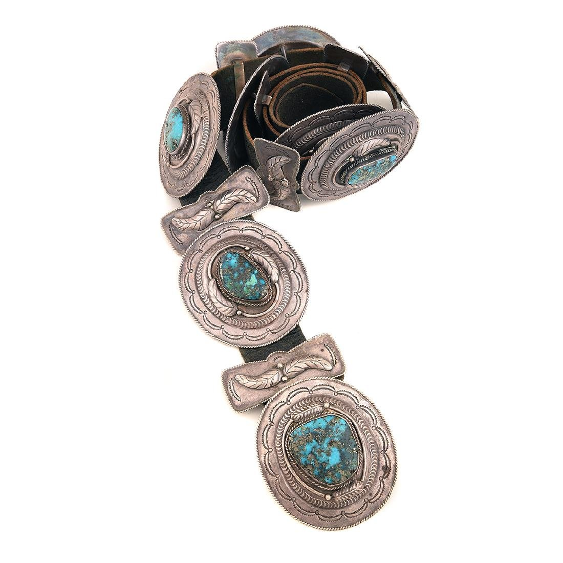 Native American Turquoise, Silver, Leather Concho Belt.