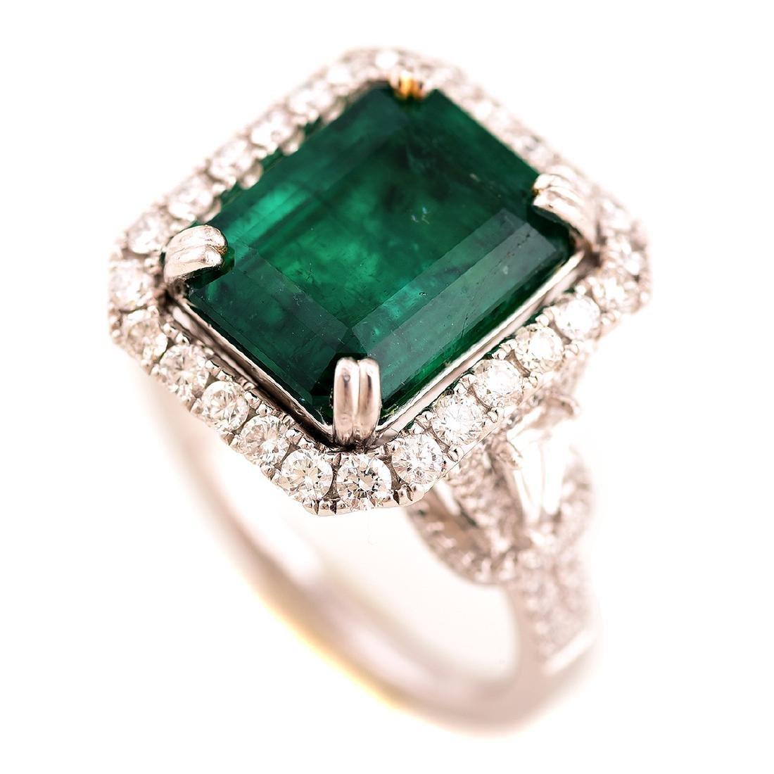 Emerald, Diamond, Platinum Ring.