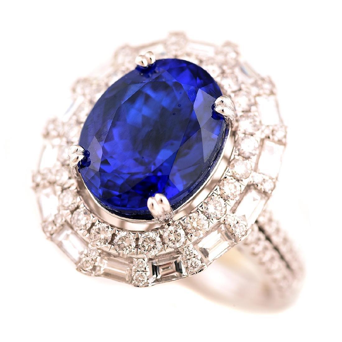 Tanzanite, Diamond, 18k White Gold Ring.