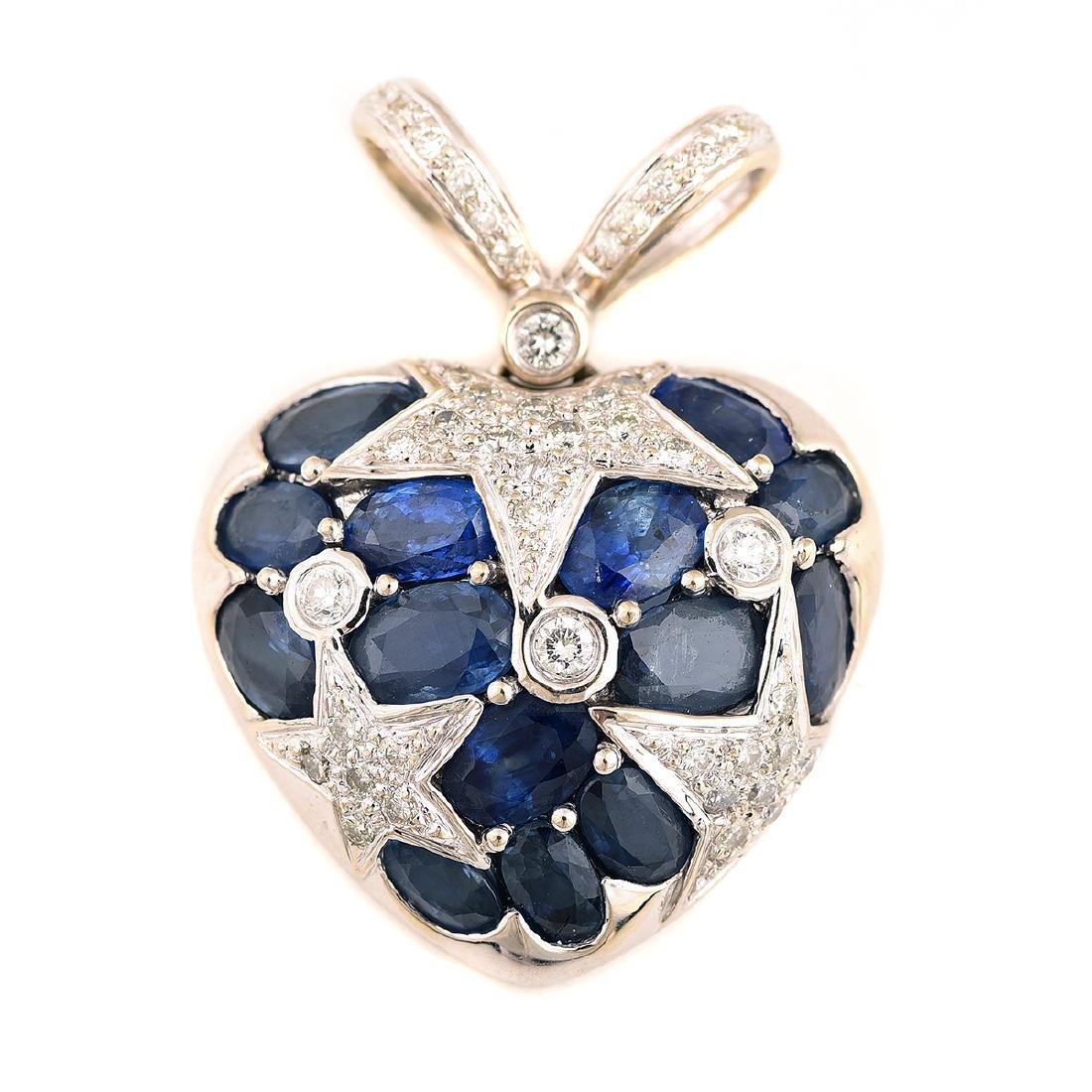 Sapphire, Diamond, 14k White Gold Heart Pendant.