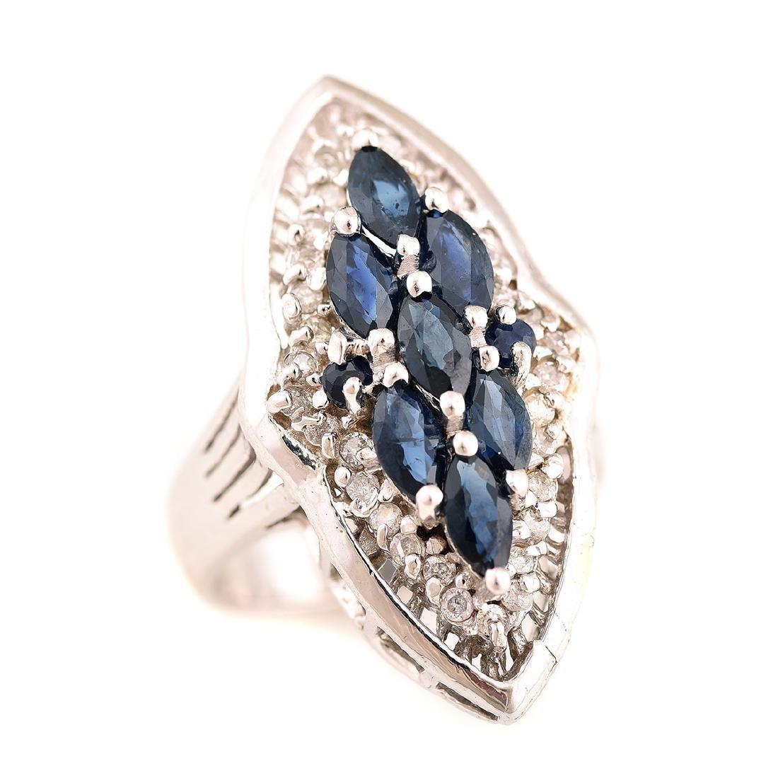 Sapphire, Diamond, 14k White Gold Ring.
