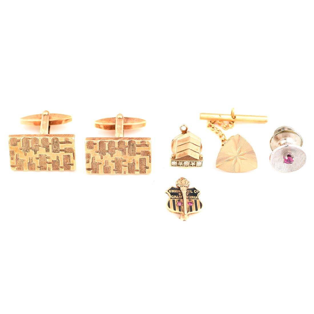 Collection of Multi-Stone, Yellow Gold Gent's Jewelry