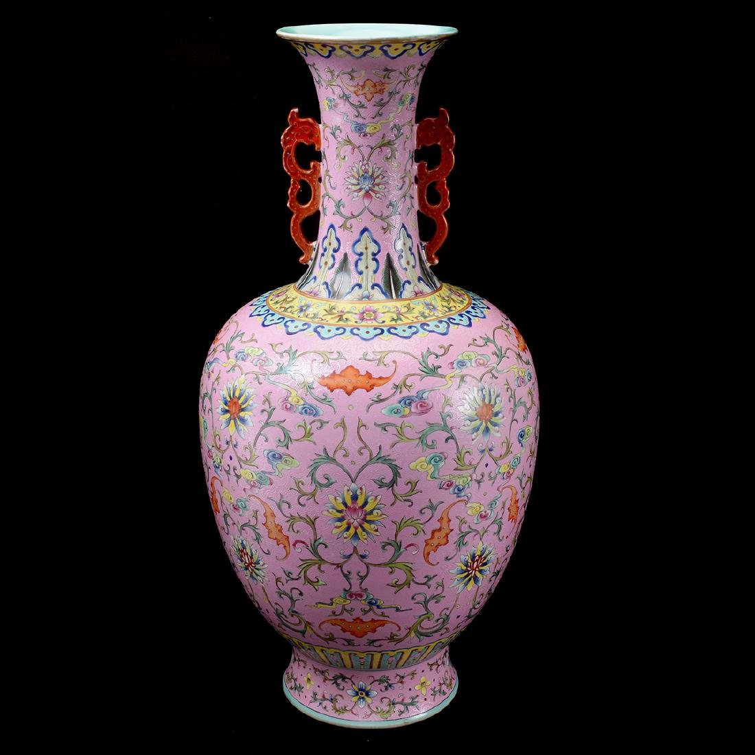 Chinese Famille Rose Pink Sgraffito-Ground Ovoid Vase