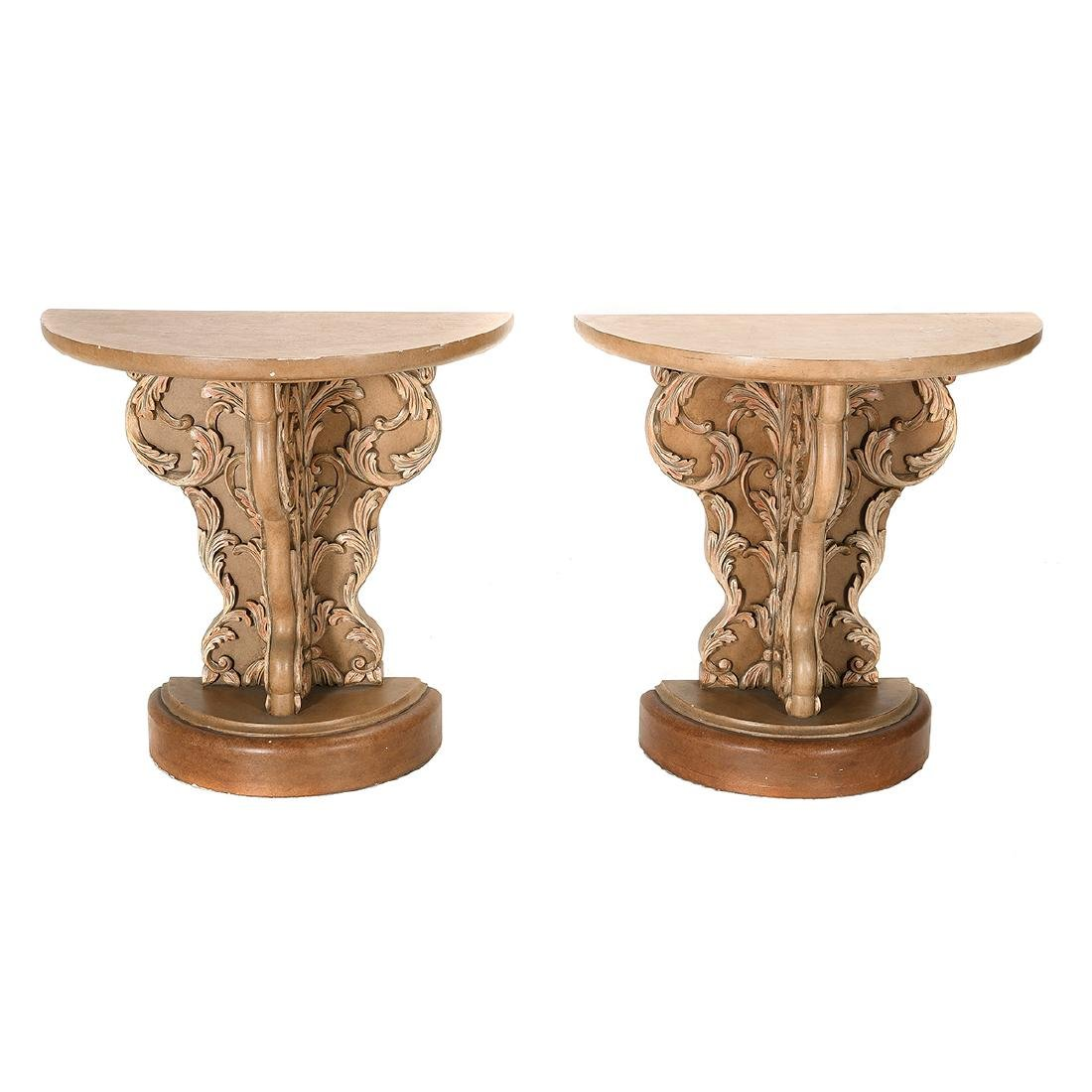 Hollywood Regency Pair of Painted Console Tables