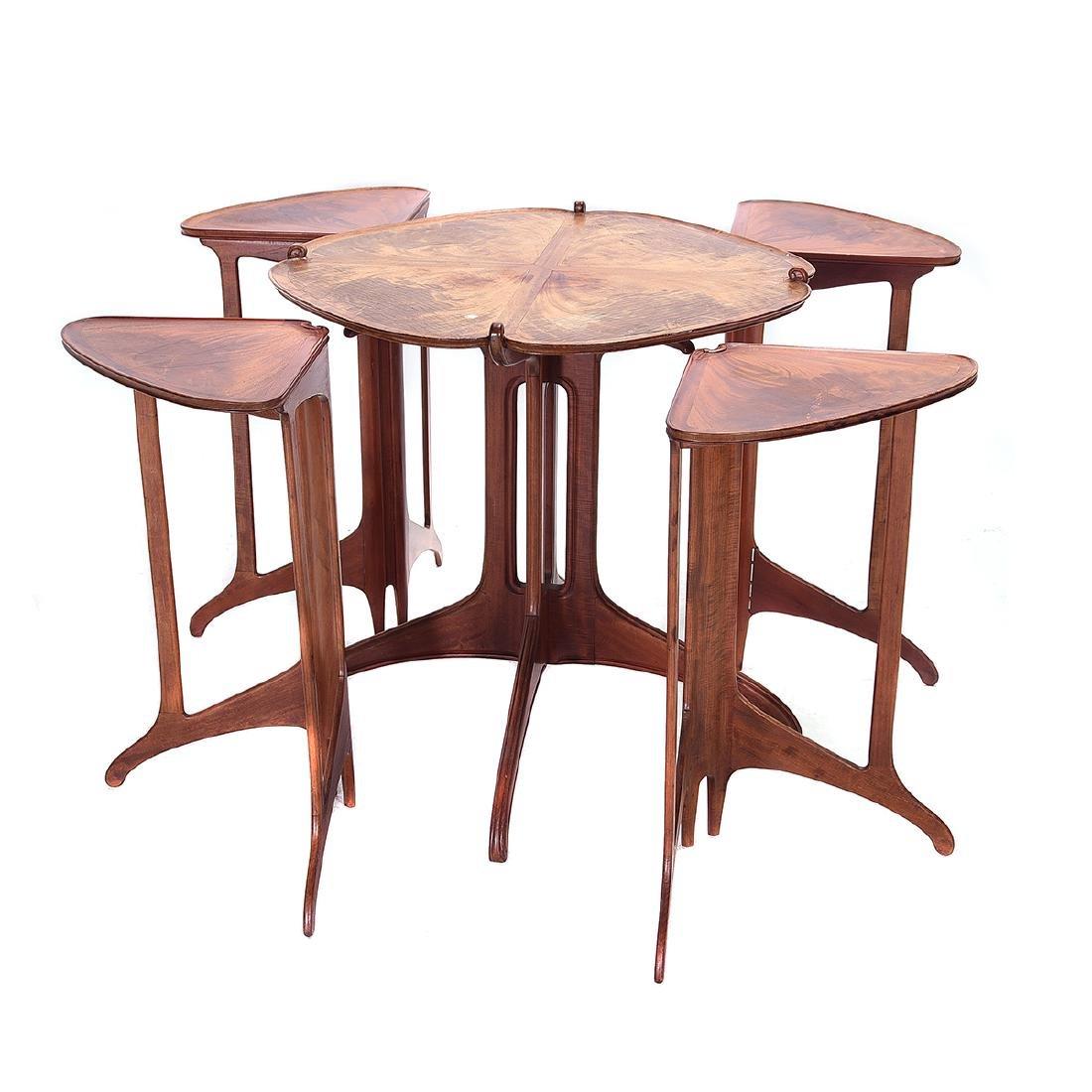 Art Nouveau Style Nest of Five Tables in Teak