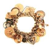 Vintage Multi-Stone, Yellow Gold Charm Bracelet.