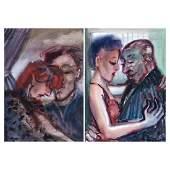 Two Patricio Moreno Toro Figurative watercolors