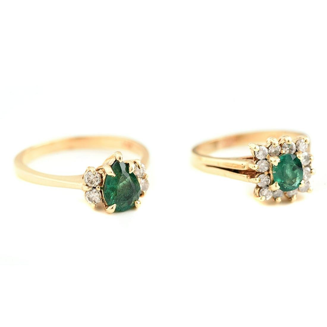 Collection of Two Emerald, Diamond, 14k Yellow Gold