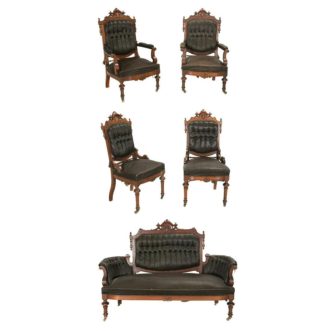 American Renaissance Revival Mahogany Furniture Suite.
